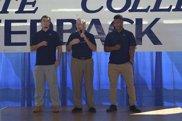 State College, PA - 11/23/2016: Week #12 State College Quarterback Club luncheon at Mount Nittany Club at Beaver Stadium in University Park, PA. This week's opponent: Michigan State Players: Trace McSorley, Saquon Barkley